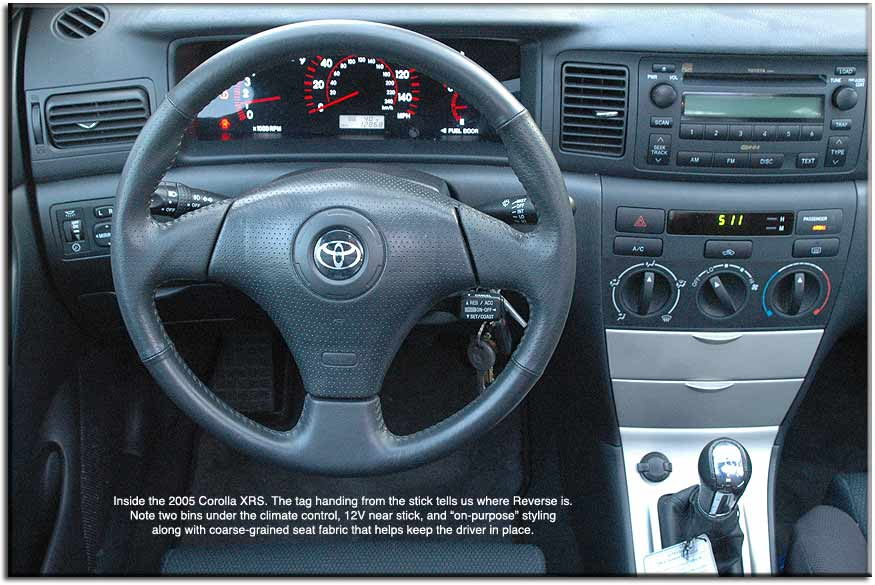 inside the toyota corolla xrs acceleration