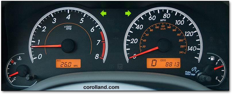 2009 corolla gauges